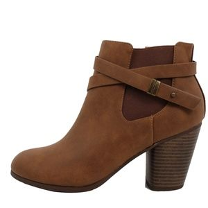 Tan Strappy Elastic Stacked Heel Ankle Bootie